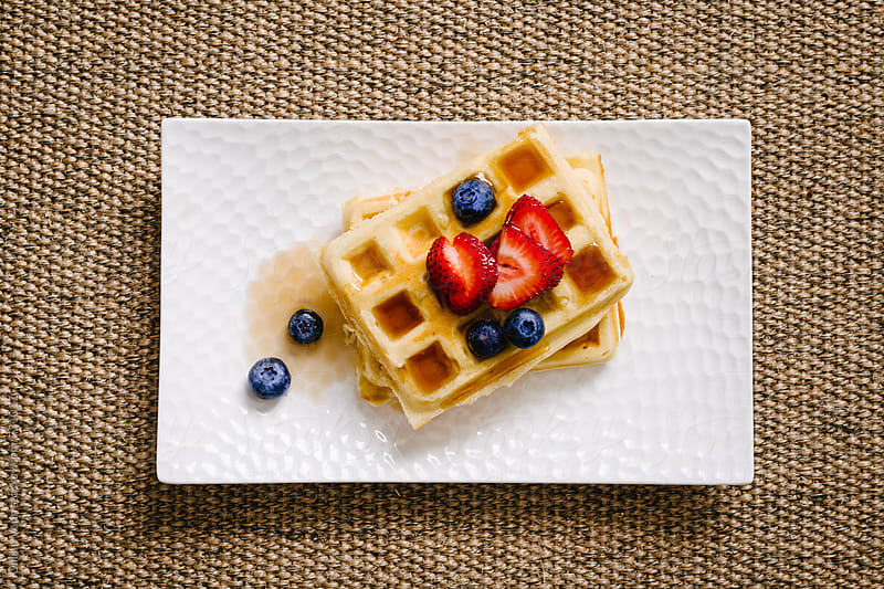 homemade buttermilk waffles by Gillian Vann for Stocksy United