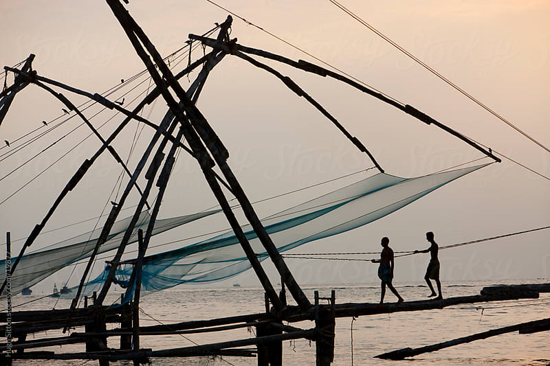 Fishing nets in Kerala. Southern India by Hugh Sitton for Stocksy United