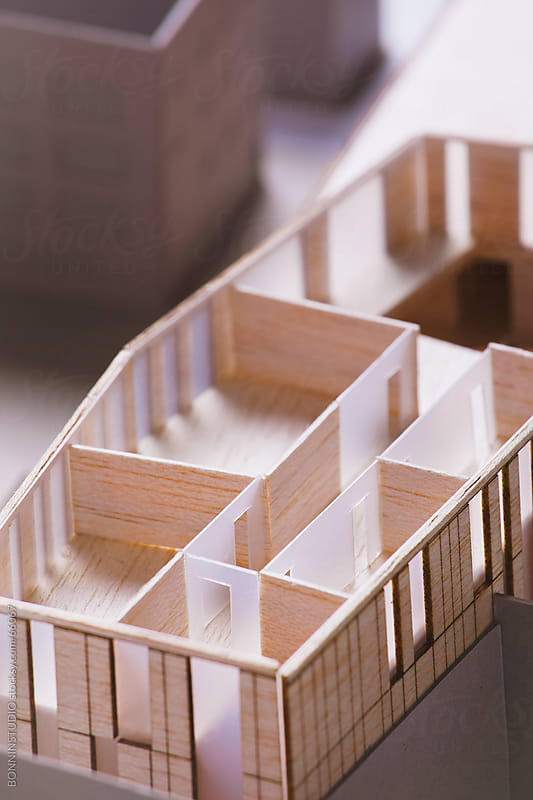 Close up of scale model of a building project.  by BONNINSTUDIO for Stocksy United