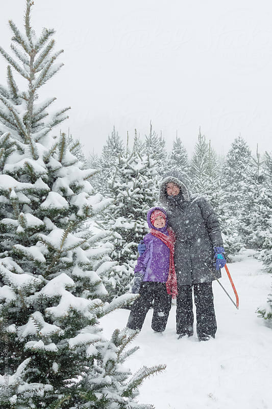 Mother Daughter Portrait at the Christmas Tree Farm in Heavy Fal by Brian McEntire for Stocksy United