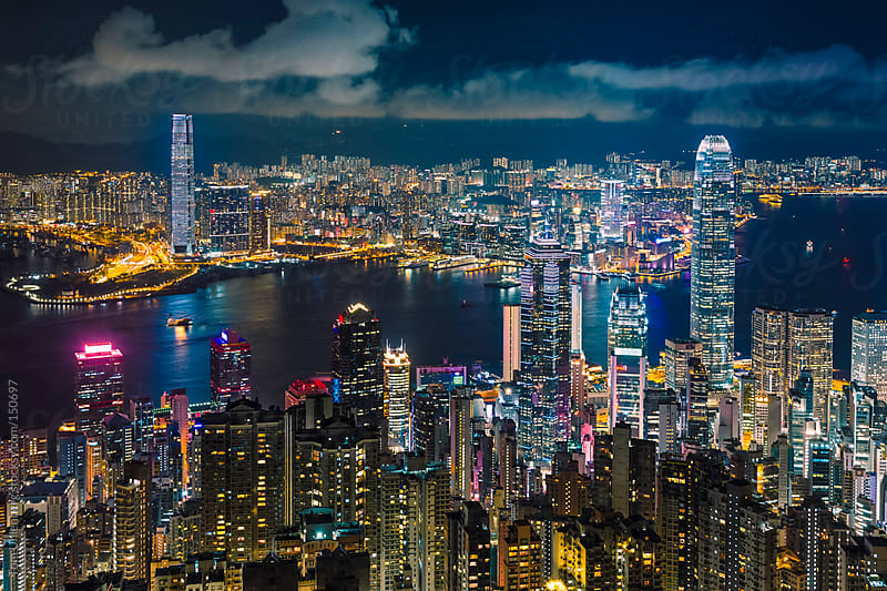 Panorama of Hong Kong at Night by Tom Uhlenberg for Stocksy United