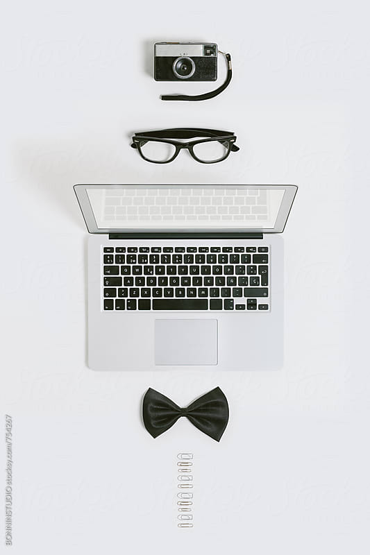 Businessman objects mock up on white. by BONNINSTUDIO for Stocksy United