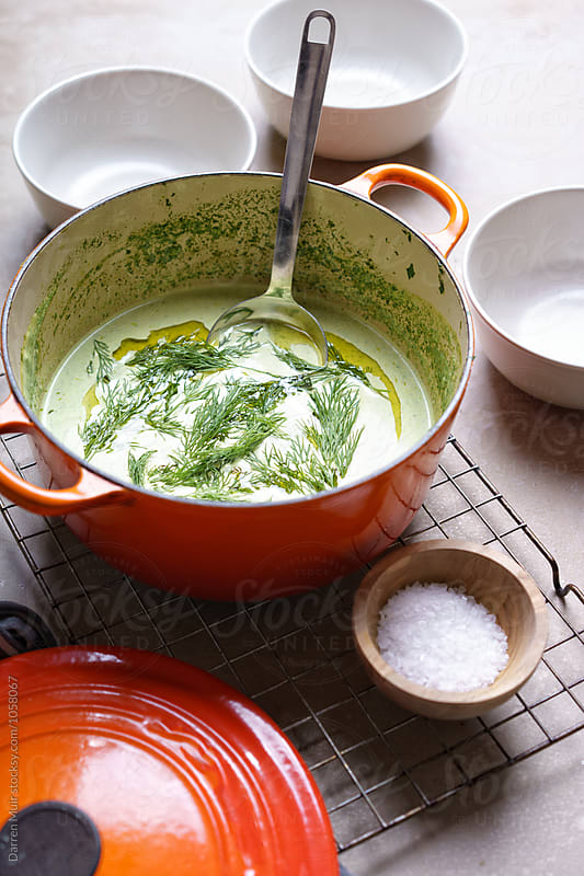 Chilled watercress and dill soup. by Darren Muir for Stocksy United