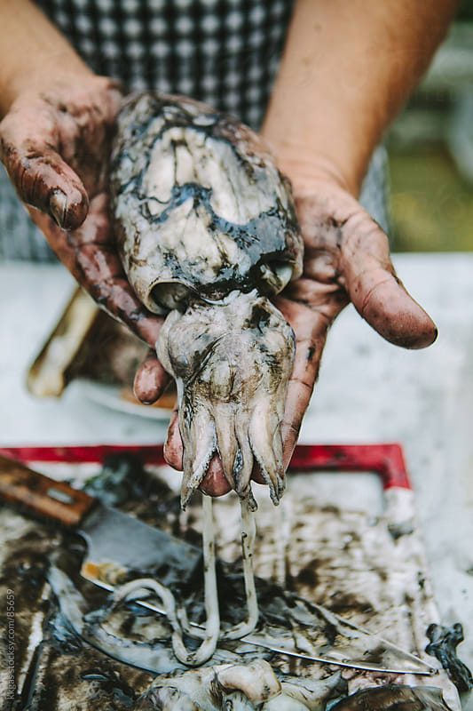Man preparing raw cuttlefish for cooking by kkgas for Stocksy United