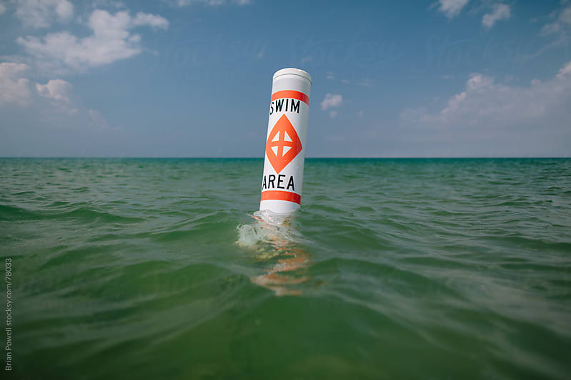 swim area marker buoy in Lake Michigan by Brian Powell for Stocksy United