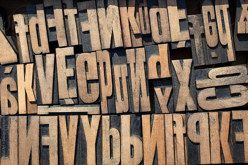 Wood Letter Blocks  by Mental Art + Design for Stocksy United