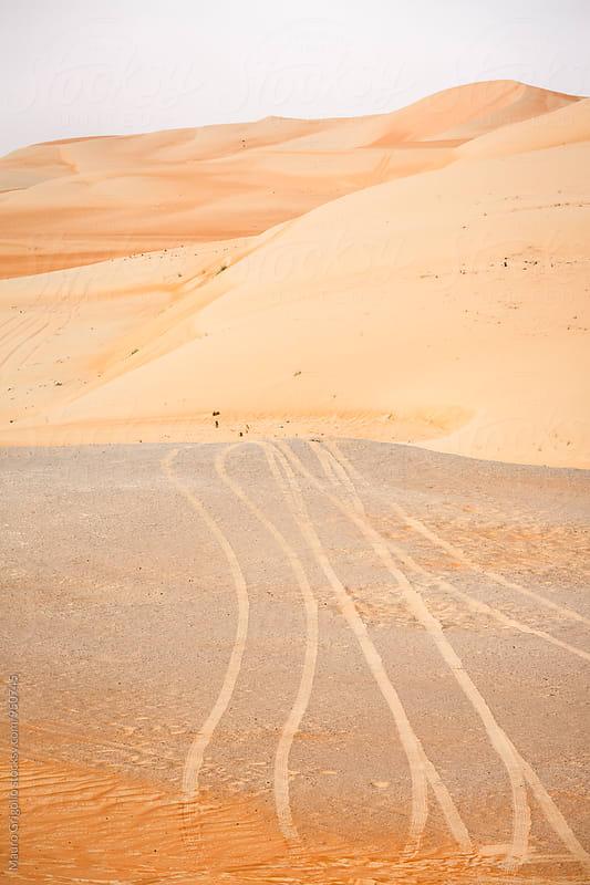 Trucks on sand in the Desert. Empty Quarter. by Mauro Grigollo for Stocksy United