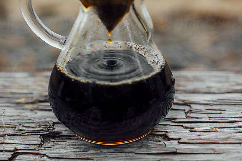 Chemex Coffee Brewing On Oregon Coastal Driftwood by Evan Dalen for Stocksy United