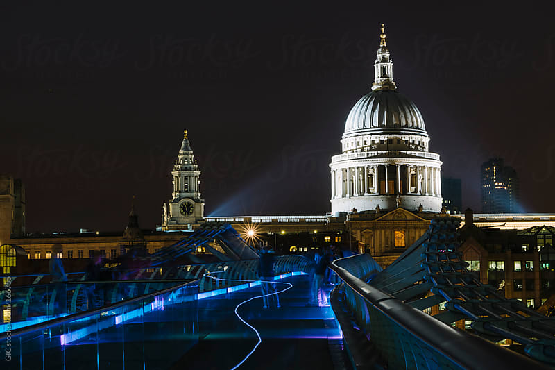 St Paul and Millenium Bridge by night by GIC for Stocksy United