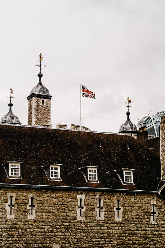 The Union Jack Flies Above a Castle in London, England During a Storm. by Benj Haisch for Stocksy United