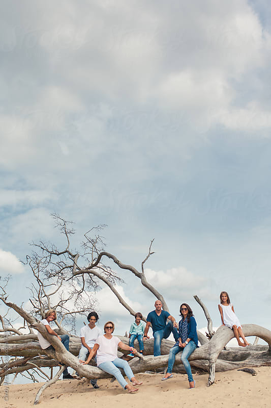 A big family sitting on fallen tree branches under a big sky by Cindy Prins for Stocksy United
