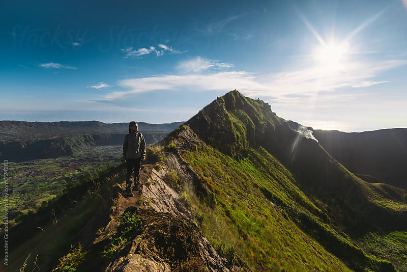 Hiking On Top Of Volcano Mount by Alexander Grabchilev for Stocksy United