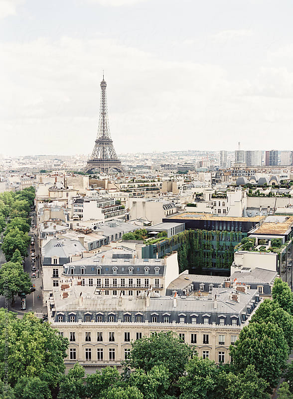 Paris Rooftops and Eiffel Tower by Vicki Grafton Photography for Stocksy United