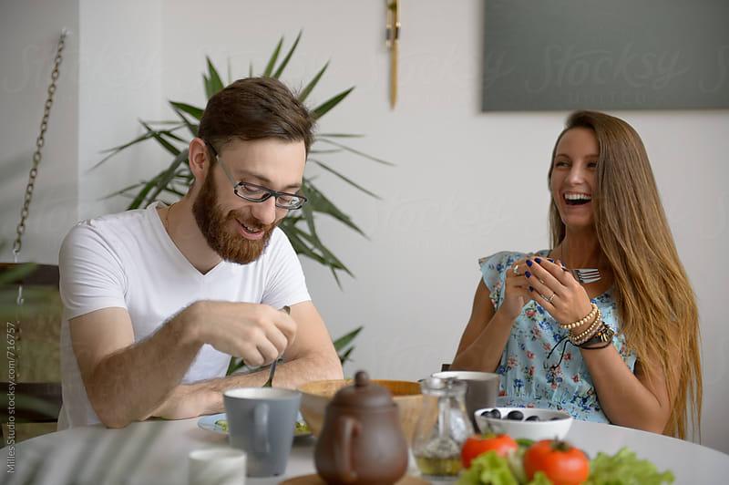 Couple having breakfast by Milles Studio for Stocksy United