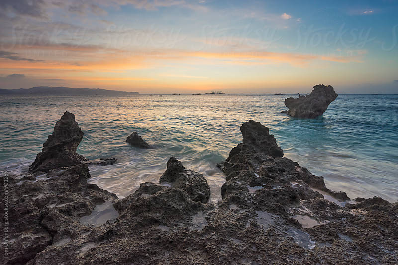 The Coast of Boracay Island at Sunset, the Philippines by Tom Uhlenberg for Stocksy United