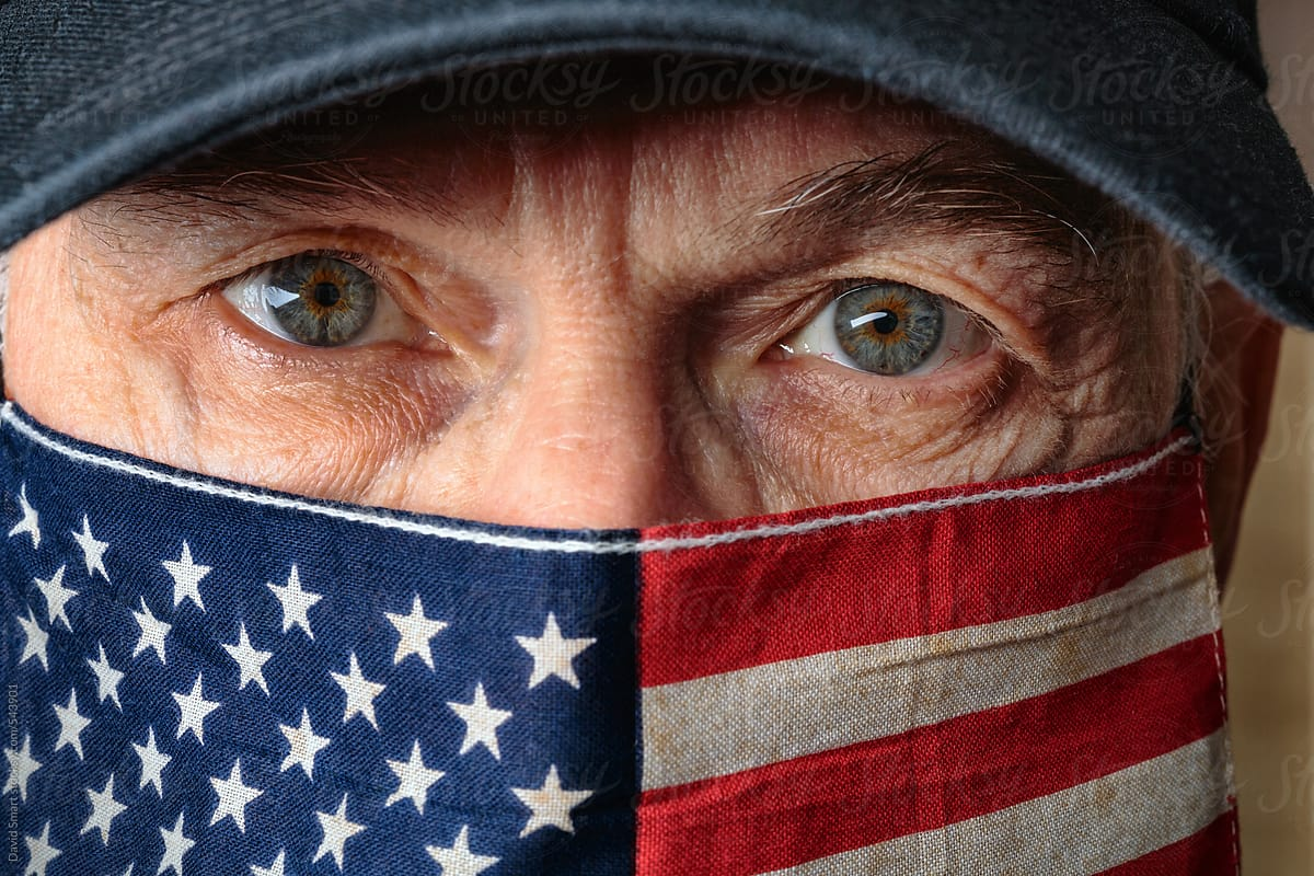 American flag as a face mask on a caucasian man by David Smart ...