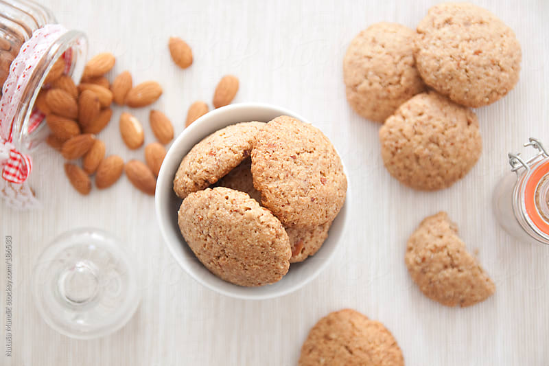Homemade biscuits with almonds by Nataša Mandić for Stocksy United