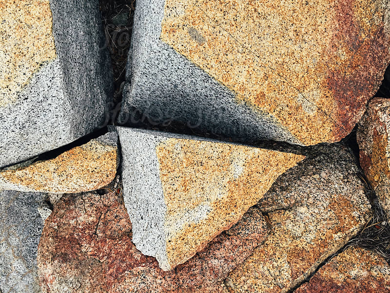 Fractured granite boulder, close up by Paul Edmondson for Stocksy United