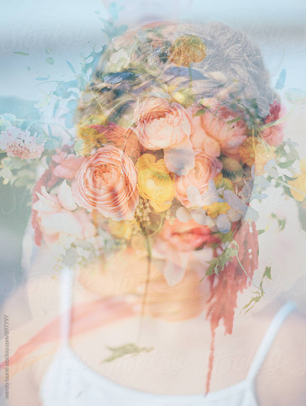 double exposure of ballet girl with flower bouquet on film by wendy laurel for Stocksy United