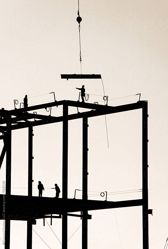 Steel Construction Erection at Construction Site by Raymond Forbes LLC for Stocksy United