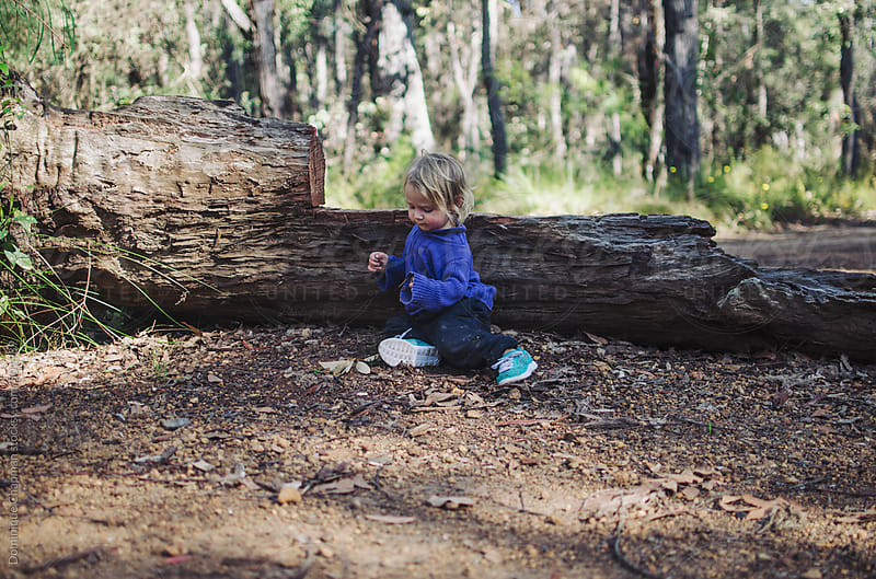 Toddler leaning against log while camping by Dominique Chapman for Stocksy United