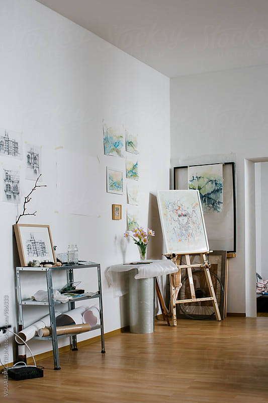 Original Watercolor Artworks in Bright Home Atelier by Julien L. Balmer for Stocksy United