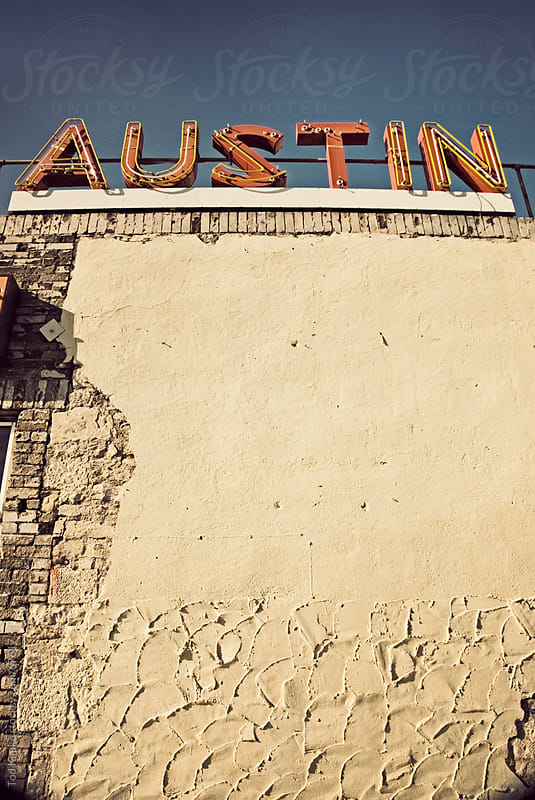vintage Austin sign by Tod Kapke for Stocksy United