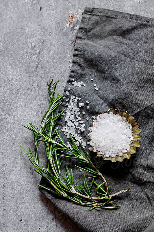 sea ​​salt and rosemary  by Babett Lupaneszku for Stocksy United