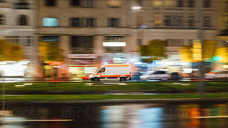 Ambulance Van in High Speed by Nemanja Glumac for Stocksy United