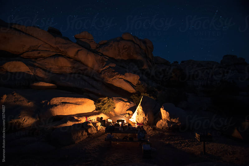 Joshua Tree, campfire, CA by Shannon Aston for Stocksy United