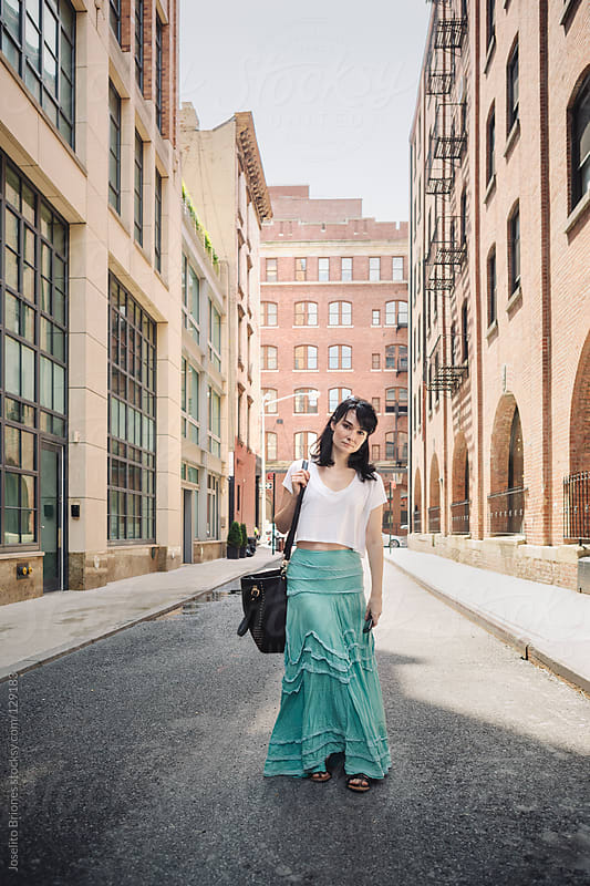 Casual Woman in a Tribeca Street in New York by Joselito Briones for Stocksy United