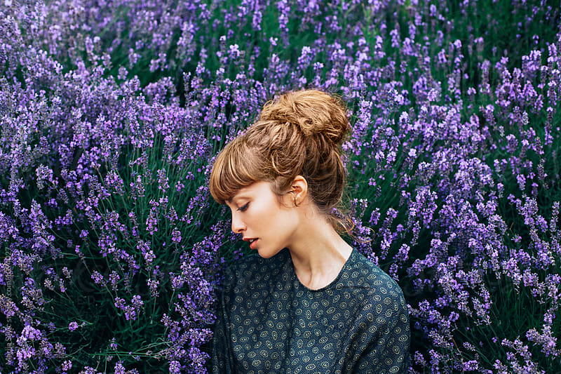 Woman in Lavender Field  by Marija Savic for Stocksy United