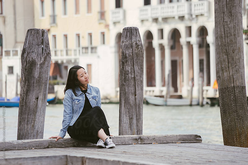 Portrait of beautiful chinese girl in Venice by MaaHoo Studio for Stocksy United