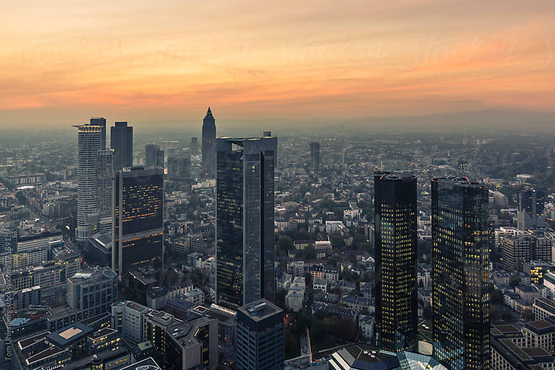 Panorama of Frankfurt am Main at Sunset, Germany by Tom Uhlenberg for Stocksy United