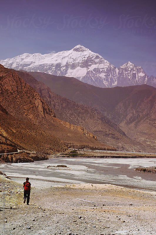 Tourist Trekking In Himalayas Mountains by Alexander Grabchilev for Stocksy United
