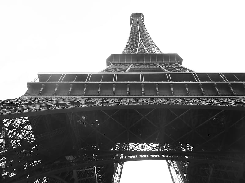 Views bottom of the Eiffel Tower in B&W by Jovana Rikalo for Stocksy United