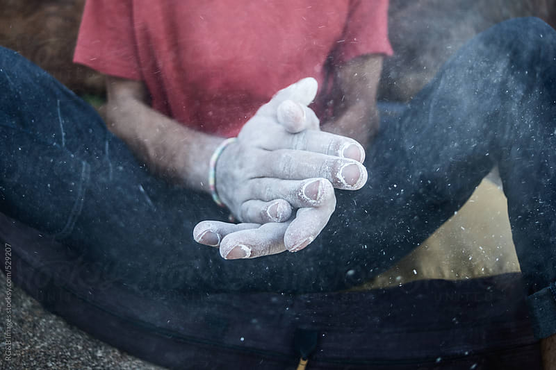 rock climber hands coated in chalk powder by RG&B Images for Stocksy United