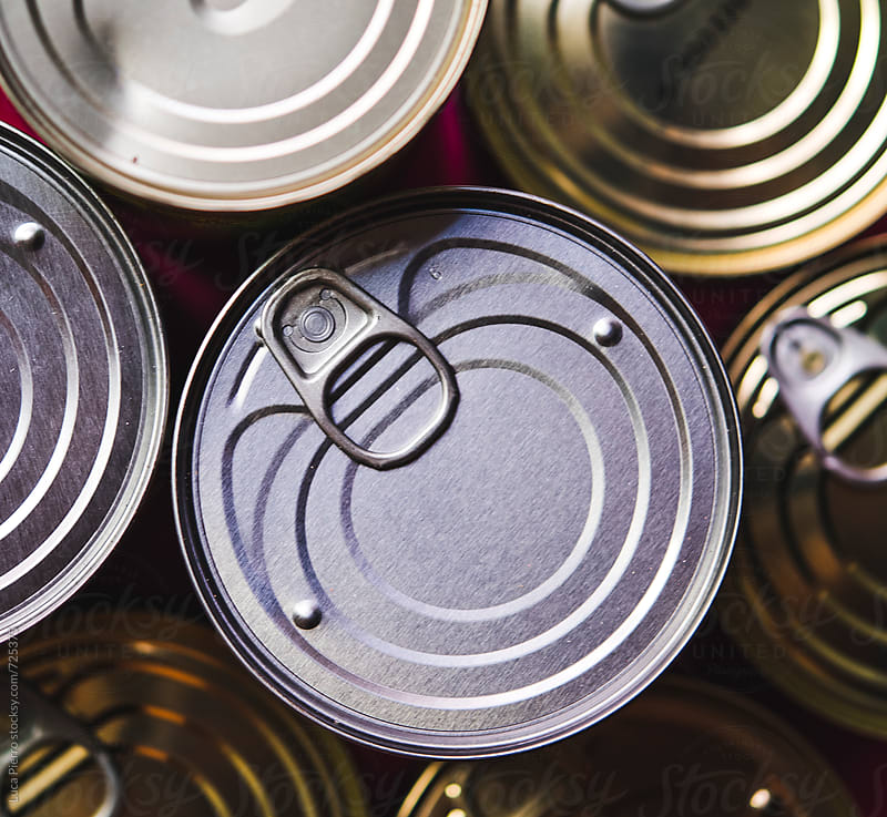 Background of various metal tin can  by Luca Pierro for Stocksy United