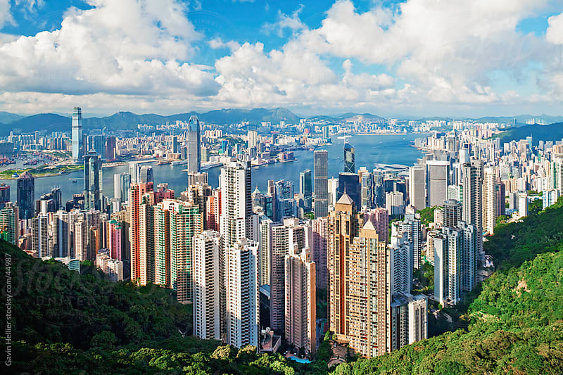 China, Hong Kong, View from Victoria Peak, City Skyline and Victoria Harbour by Gavin Hellier for Stocksy United