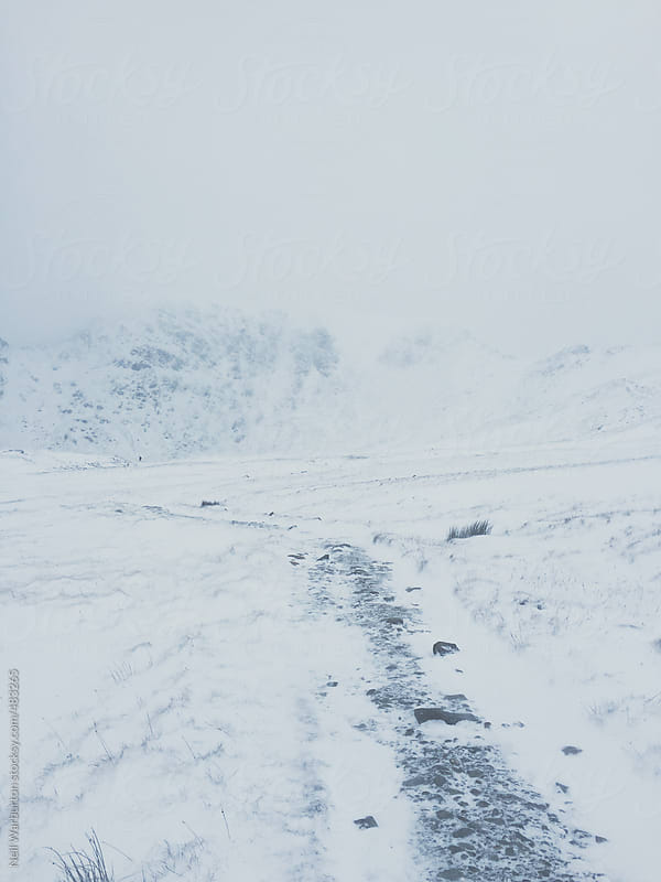 Winter mountain path by Neil Warburton for Stocksy United
