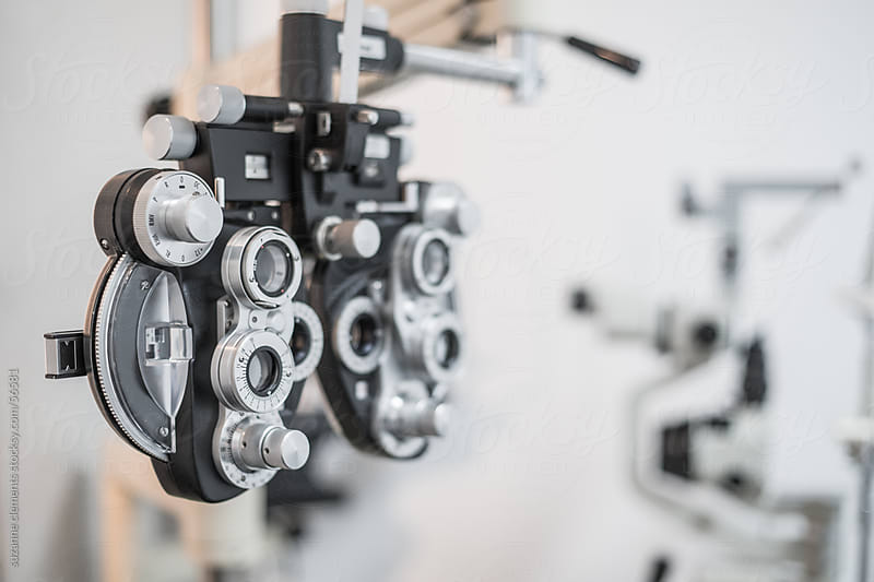 An Optometrist's Phoropter for Lens Prescription Fitting by suzanne clements for Stocksy United