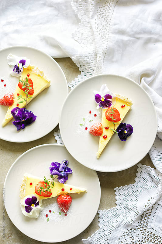 Summer dessert. Citrus tart. by Darren Muir for Stocksy United
