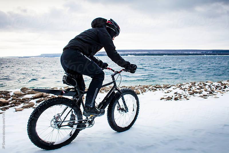 Extreme Winter Sport Mountain Biking In Snow by JP Danko for Stocksy United
