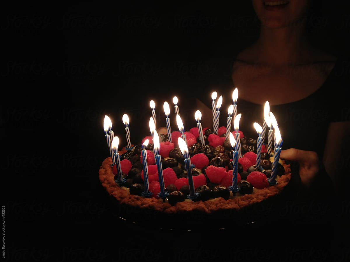 Peachy Birthday Cake With 24 Candles By Lyuba Burakova Birthday Cake Personalised Birthday Cards Veneteletsinfo