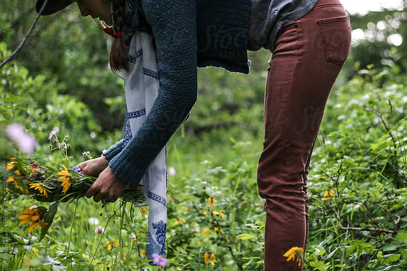 Woman gathers wildflowers for a bouquet by Hannah Dewey for Stocksy United