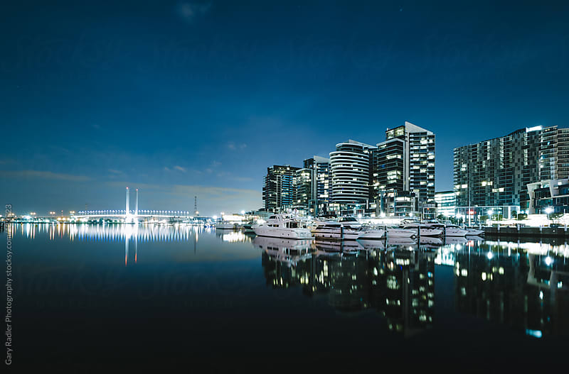 Victoria Harbour, Docklands, Melbourne, Australia at night by Gary Radler Photography for Stocksy United