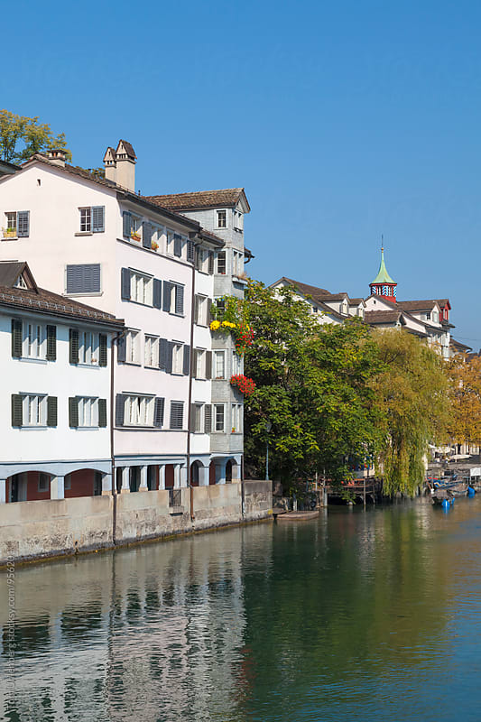 Zurich, Switzerland - White Houses on the River Limmat by Tom Uhlenberg for Stocksy United