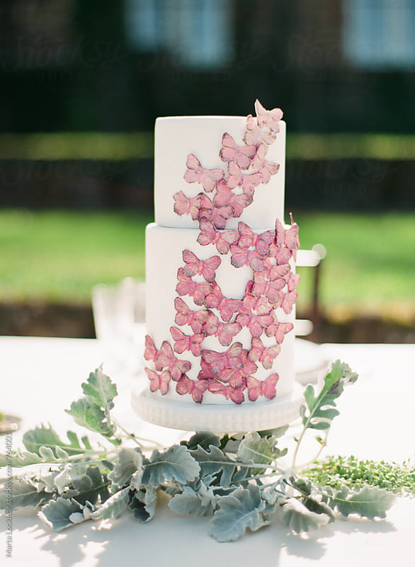 Butterfly covered wedding cake by Marta Locklear for Stocksy United