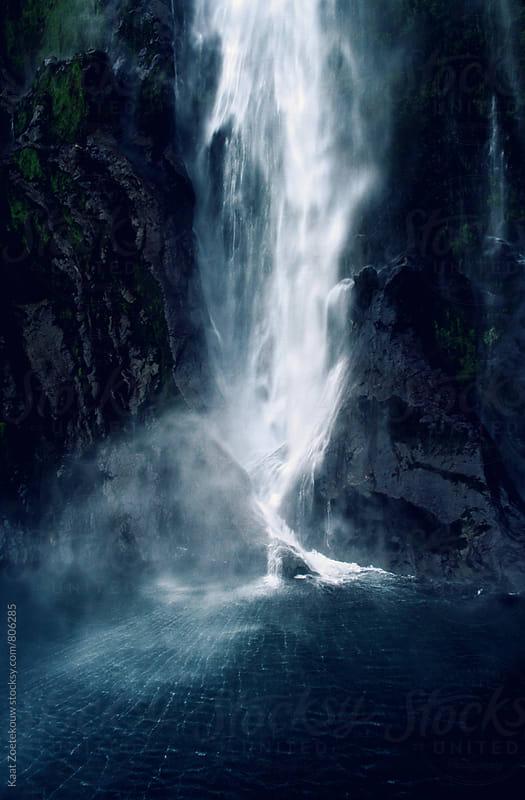 Moody waterfall in New Zealand by Kaat Zoetekouw for Stocksy United