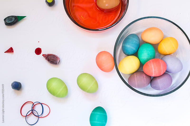 Easter eggs and dying supplies by Lauren Light for Stocksy United